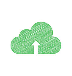 Cloud technology sign green scribble icon with vector