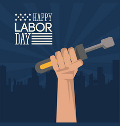 Colorful poster of happy labor day with dark blue vector