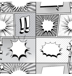 Comic monochrome style seamless pattern vector