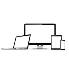 Computer monitor laptop tablet and smartphone vector
