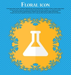 Conical Flask Floral flat design on a blue vector image