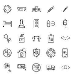 coronavirus line icons on white background vector image