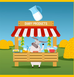cow selling dairy products at market stall vector image