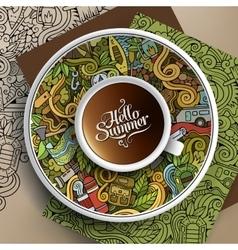 Cup coffee camp doodle vector