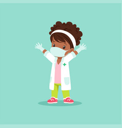 Curly-haired black bagirl in medical mask vector