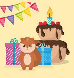 Cute and little chipmunk with cake and gift vector