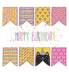 Cute cartoon happy birthday holiday flags with cat vector
