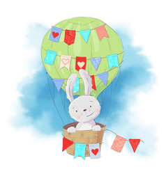 Cute cartoon rabbit in a balloon on a watercolor vector