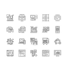 data analysis line icons signs set vector image