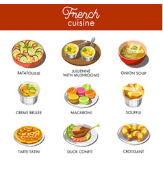 Delicious french cuisine with most famous vector