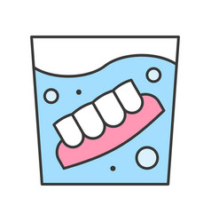 Denture in water glass dental related icon filled vector