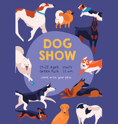 dog show poster on purple background various vector image