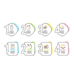 Edit document burger and apple icons set vector
