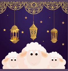 Eid al adha mubarak happy sacrifice feast sheeps vector