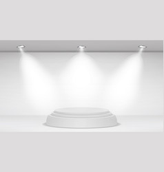 Empty white photo studio interior background vector