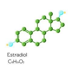 estradiol hormone structural chemical formula vector image