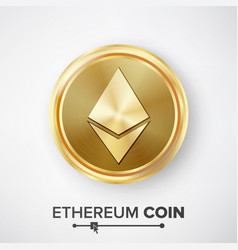 ethereum coin gold coin realistic crypto vector image