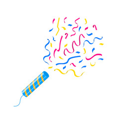 Exploding party popper stick with confetti vector
