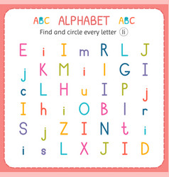 Find and circle every letter i worksheet vector