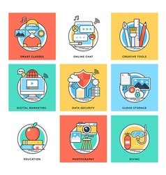 Flat Color Line Design Concepts Icons 1 vector