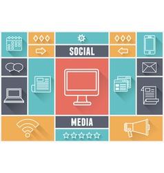 Flat concept media market service vector