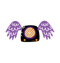 Flat guitar amplifier with wings icon vector
