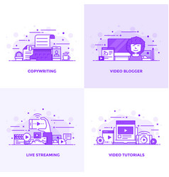 Flat line purple designed concepts 2 vector