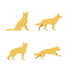 Four silhouettes of large breed dogs isolation vector