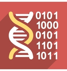 Genome Code Flat Long Shadow Square Icon vector