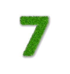 grass number seven green 3d number 7 isolated on vector image