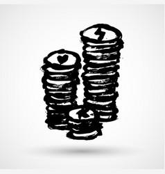 Grunge casino chips icon hand-drawn vector