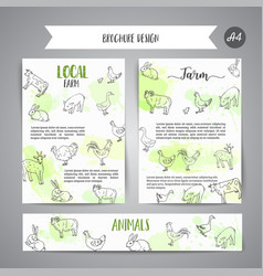 Hand drawn farm animals brochure local farm card vector