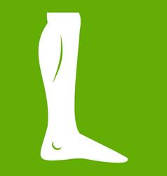 human leg icon green vector image