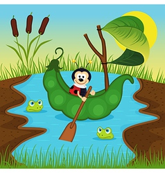 ladybug floats on peas on river vector image