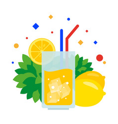 lemonade in a glass tube and a slice of lemon vector image