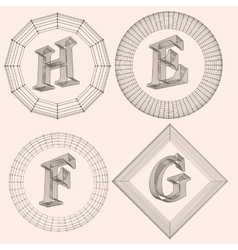 letter Fonts of Mesh vector image