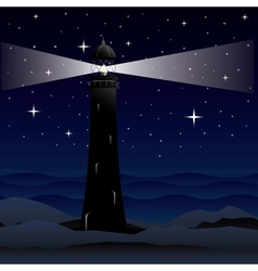 Lighthouse and Night Sea vector image