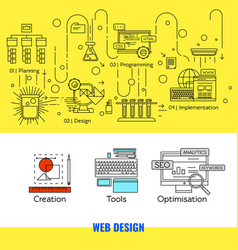 Linear web design concept vector