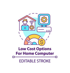 Low cost options for home computer concept icon vector