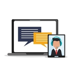 Man operator tablet and laptop design vector image