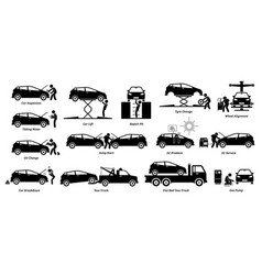 mechanic check and fix car at workshop garage vector image