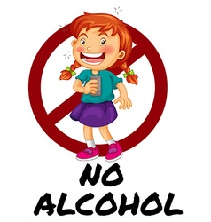 No alcohol sign with girl drinking vector