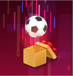 opened box with soccer ball flying out from vector image
