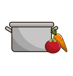 organ tomato and carrot food next to pot vector image