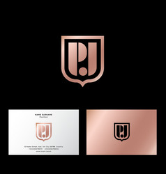 p and j monogram gold shild business card vector image