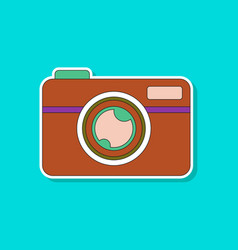 Paper sticker on background of camera vector