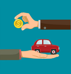 People are holding in hands money and a car vector