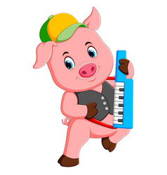 Pig uses the yellow and grey cap playing the piano vector