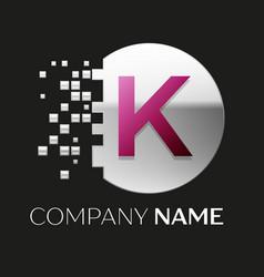 pink letter k logo symbol in silver pixel circle vector image