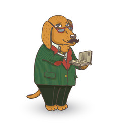 professor dog vector image